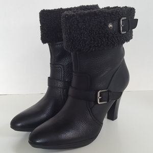 Anne Klein Black Leather Fur Ankle Boots Booties
